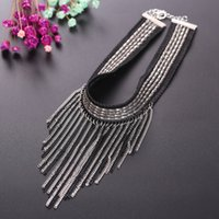 Wholesale Gothic Black Chain - Choker Collar Necklace Gothic Velvet Tassel Necklace Jewelry Poolei Torque Pendant Alloy Chains Black Fashion Jewelry Accessorices A60