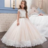 Wholesale Girls White Lace Tulle Skirt - 2017 Hot Selling Lace Girls Dress O-neck Lace Kid Dress White Tulle Puffy Skirt With Beaded Belt