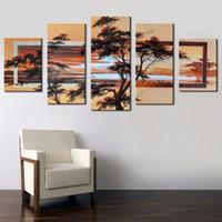abstrakte gemälde für sonnenaufgang großhandel-5 Teile / satz Kein Gestaltet 100% Handgemalte Moderne Abstrakte Landschaft Dekorative Bild für Schlafzimmer Sonnenaufgang Baum Ölgemälde