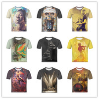 Wholesale Abstract Music Prints - Abstract People Listen music with headphones Play guitar Rock Music Flute Black Yellow Design Men's Short Sleeves Casual 3D Print T shirt