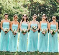 Wholesale Dark Navy Bridesmaid Fabric - Real Photos Green Beach Color Bridesmaid Dresses Chiffon Fabric Strapless Backless Bridesmaid Dress Floor Length A-Line Gowns For Wedding
