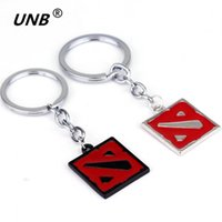 Metal Key Boys 2016 Dota 2 Keychain Online Game Dota2 Classical Logo Square Shape Pendant Keyring 2 Colors Gift Keyring Keychains kids jewelry