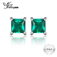Wholesale Created Emerald Jewelry - Jewelrypalace Square 0.6ct Created Created Russian Nano Emerald 925 Sterling Silver Stud Earrings Fashion Jewelry for Women