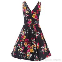 Wholesale Double V Cocktail Dress - Women's Vintage 1950s Hepburn Style Double V-Neck Backless Elegant Floral Prints Garden Tea Party Swing Dress Ball Gown Cocktail Gowns