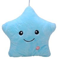 Wholesale Glow Pillow Stars - Lovely Colorful Smile Star Pillow Glow LED Luminous Light Pillows Cushion Doll Toys Soft Relax lover Gift