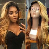 Two Tone Lace Front Peruca Peruvian Remy Hair 150 Densidade Ombre Color Side Part Blonde # 1bT27 peruca de cabelo humano para mulheres negras