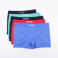 Wholesale Man Underwear Boxer Shorts Mix - S M L XL male Mid-Rise Lycra Cotton seamless boyshort Men's panties underwear men boxer shorts mix color 6pcs lot HYS414
