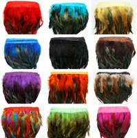 Wholesale Wholesale Pink Boas - 1Yard Piece 12 Colors for Selections Rooster Tail Wedding Bride Dresses Decoration Skirt Feathers Party Decorative Boas Strip