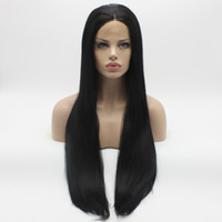 Wholesale Extra Long Straight Black Hair - Iwona Hair Straight Extra Long Black Wig 22#1 Half Hand Tied Heat Resistant Synthetic Lace Front Wigs