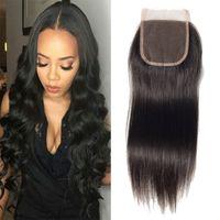 Wholesale Closure Straight Hair - 4x4 Lace Closure Brazilian Virgin Straight Hair Lace Closure Middle Free  Three Parts Straight Virgin Lace Closure Grace Hair