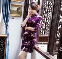 Wholesale Chinese Dresses Plus Size Women - Women Modern Qipao Dress Gold Print Floral Velvet Qipao Plus Size Short Cheongsam Dress Traditional Chinese Clothing