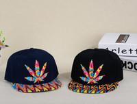 Wholesale Wide Brim Baseball Cap - Colour Cannabina maple leaf hat Ping hip hop along the hat man women maple leaf hip-hop dance baseball cap