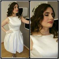 Wholesale Sleevless Wedding Dresses - White Short Wedding Dress 2017 Robe De Mariage Bateau Beaded Sleevless Satin Bridal Gown Arabic Plus Size Women Dresses