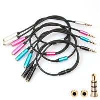 Wholesale Spliter Female - 2in1 Audio Auxiliary Cable Wave Aux Extension Stereo aluminum spliter cable For Samsung phone TV PC DVD