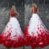 Wholesale Red Wedding Gown Accents - 2017 Two Pieces Wedding Dresses with Red Accents Bateau Neck Sleeveless Lace Appliques Top Handmade Flowers Bridal Gowns Red and White