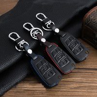Wholesale Audi A4 Button Key - Top Leather Key Case Fit for Audi A6L A4L Q3 Q7 Q5 A3 A4 A6 R8 TT 3 Button Plug-in type car key