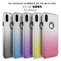 3 em 1 Bling Glitter Gradient TPU Silicone para PC 6 6S 7 X Plus iPhone7 iPhone8 Samsung Galaxy S7 S8 Edge Note Note8 A5 2017