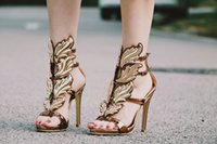 Wholesale Drop Shipping Name Brand - New Hot Sale Brand Name Woman Shoes Gold Leaves Gladiator Sandals Sexy Real Leather High Heels Drop Shipping
