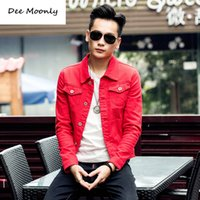 Wholesale Jacket Green Denim Men - Wholesale- DEE MOONLY 2016 New slim mens jackets and coats casual denim jacket men veste homme men jeans jacket khaki black army green red