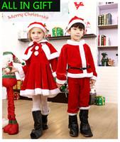 Wholesale Teenage Wholesale Decorations - 2017 3 in 1 Santa Claus clothes Christmas decorations Children's Christmas costumes Plush Adult Christmas Costume set