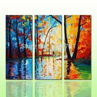 Wholesale Group Oil Paintings Design - modern design 3 pieces set palette knife forest group oil painting on canvas for living room wall decor