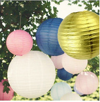 Wholesale Wedding Decor Chinese Lanterns - Mulit color option 8 inch 20cm Round Chinese Paper Lantern for Birthday Wedding Party Decor gift craft DIY party decorate