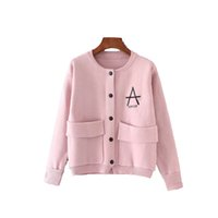 Wholesale Cardigan Ladies Long Design - Wholesale- X24-1 women brand o neck long sleeve loose design double pockets knitted cardigan ladies candy color letter print sweater coat