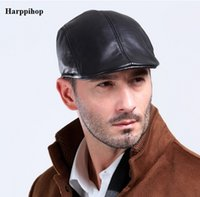 ingrosso berretti di pelliccia-All'ingrosso- Harppihop fur L004 2017 nuovo design in pelle 100% genuino Cap / Newsboy / berretto / cappello Cabbie / cappello da golf cappelli di montone