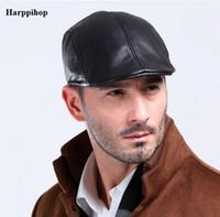 меховые береты оптовых-Wholesale- Harppihop fur L004 2017 New Design Men's 100% Genuine Leather Cap /Newsboy /Beret /Cabbie Hat/ Golf Hat sheepskin caps