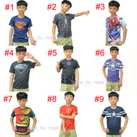 Wholesale Iron Man Clothes - 15 Style Kids Superhero 3D Short sleeved T-shirt Avengers Captain America Iron Man shirt sports quick dry T shirt children clothes B