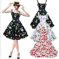 Wholesale Retro Cherry Dress - Women Vintage Party Dress 1950s 60s Chic Summer Retro Sleeveless Cherry Print Floral Homecoming Dress Female Plus Size Casual Dresses