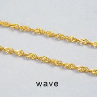 Wholesale Thin Chain Pearls Necklace - 925 Sterling Silver necklace 1MM water wave Chain Super Thin Strong 16' 18' Chain Necklace wholesale