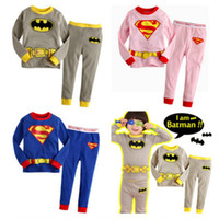 Wholesale Long Sleep Baby Suits - Children Pajamas Sleeping Full Pants Shirts Suit Kids Clothes Long sleeve Baby Boys Girls Superhero Costumes Batman Suit Outfits gifts