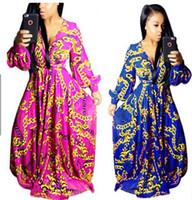 Wholesale New Styles Lady Maxi - Maxi Dresses Robe Boho style new women Long Sleeve Dresses Fashion floral print Large Swing Dress ladies Vintage Party long Dresses