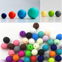 Wholesale Candy Color Bead Necklaces - Baby Teething Silicone Beads 9mm DIY Teething Necklace Safe Food Grade Nursing Chewing Round Silicone Beads 100pcs lot candy color