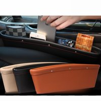 Wholesale Car Side Seat Organizer - New Quality Leather seat car organizers side crack catcher storage box Car Seat Slit Pocket black beige brown