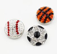 Wholesale baseball necklace charms silver - 3 Style 18mm Rhinestone Baseball Soccer Basketball Button Snap Charms Fit For DIY Snap Button Bracelet Necklace Jewelry