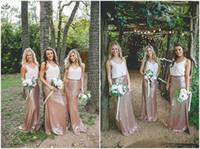 venta de vestido de dos piezas al por mayor-Venta caliente 2017 Dos Piezas de Oro Rosa de Lentejuelas Boho Vestidos de dama de Fiesta Vestidos de Fiesta de La Vendimia Vestido de Fiesta de Boda del País