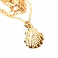 Wholesale Spirals Party - Sea Shell necklace Mermaid Valentine Necklace beach jewelry Spiral Swirl Seashell Necklace high quality charm pendant wholesale