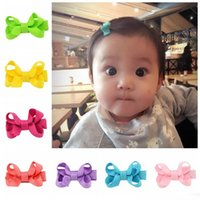 Wholesale Small Grosgrain Hair Bows - 2inch Baby Bow Hairpins Small Mini Grosgrain Ribbon Bows Hairgrips Girls Solid Whole Wrapped Safety Hair Clips Kids Hair Accessories