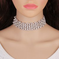 Wholesale Women Necklace Row - Best lady 2017 New Design Luxury Bohemian Simulated Pearls Chokers Layer Rows Beads Maxi Necklace Statement Jewelry Women 5220