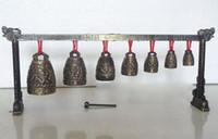 instrumentos china al por mayor-Gong de meditación con 7 campanas adornadas con diseño de dragón Instrumento musical Decoración de jardín 100% latón de plata tibetana real