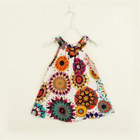 bebek kızı elbiseleri toptan satış-Kızlar Elbiseler Bebek Çocuk Vintage Retro Baskılı Desen Şifon Elbiseler Çocuk Moda Sevimli Giysiler Toptan Fiyat