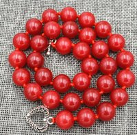 """Wholesale Red Ruby Bead - new12mm Red Ruby Round beads Gemstone Necklace 18"""" Tibetan silver love clasps"""