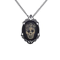 Wholesale Vintage Cameo Necklaces - Steampunk Vintage Style Halloween Grinning Sugar Skull Face Cameo Pendant Necklace Black Chain Best Christmas Gift for Men Sweater Necklace