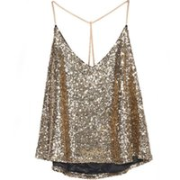 Wholesale Beige Sequin Tank Top - Wholesale- Sexy Women Vest Tank Crop Tops Blouse Shirts Sequin Bodycon Party Top Clubwear Hot