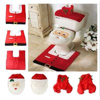 Wholesale Cheap Ornament Sets - Wholesale-Happy Santa Toilet Seat Cover Rug Bathroom Set Decor Christmas Decoration for home new year 2016 cheap Xmas product ornaments