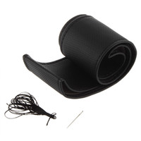 Wholesale steering wheel cover leather thread - DIY PU leather Car Steering Wheel Cover case With Needles and Thread