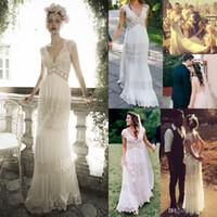Wholesale Same Deep Wave - Vintage lihi hod Wedding Dresses Sheer Deep V Neck Backless Bohemia Lace Applique 2017 Wedding Gowns Chiffon Court Train Long Bridal Dress