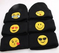 Wholesale Woolen Caps For Boys - New recommend baby kids newborn emoji hats winter warm woolen knitting caps beanies clothes apparel accessories for boys girls wholesale